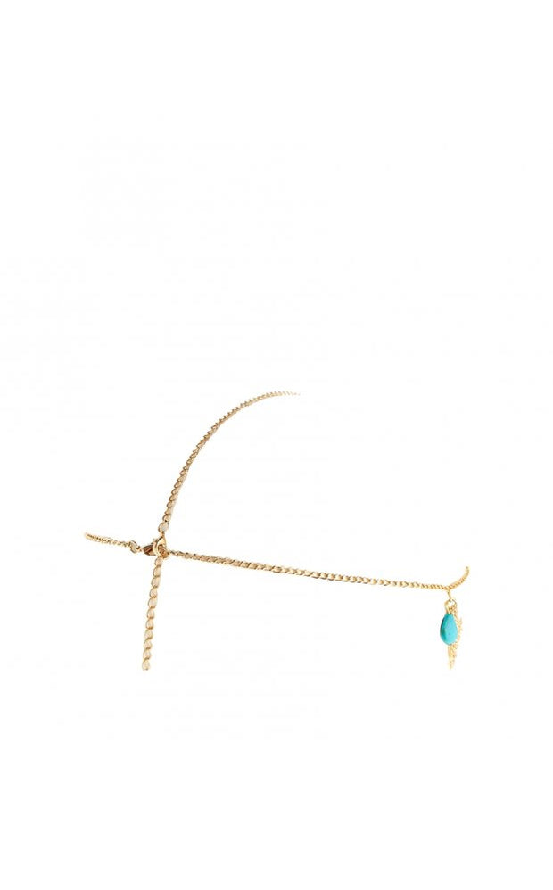 Turquoise Nugget Charm Head Chain