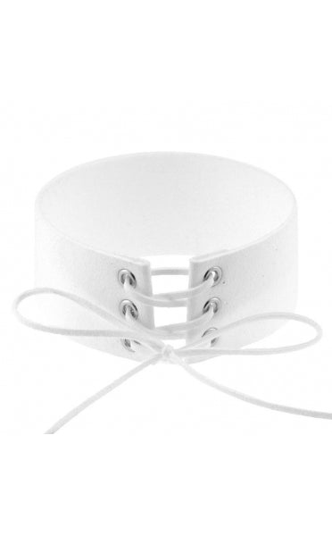 Kiki White Lace Up Choker
