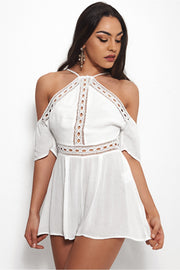 Savana Cold Shoulder White Playsuit