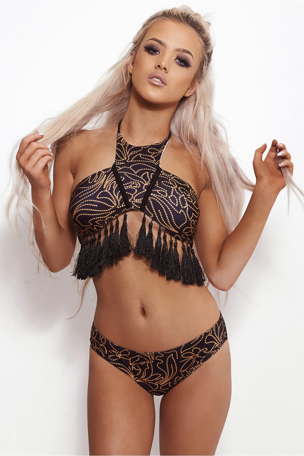 Nala Black & Orange Fringe Bikini