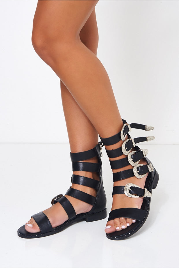 Black Western Studded Buckle Sandals