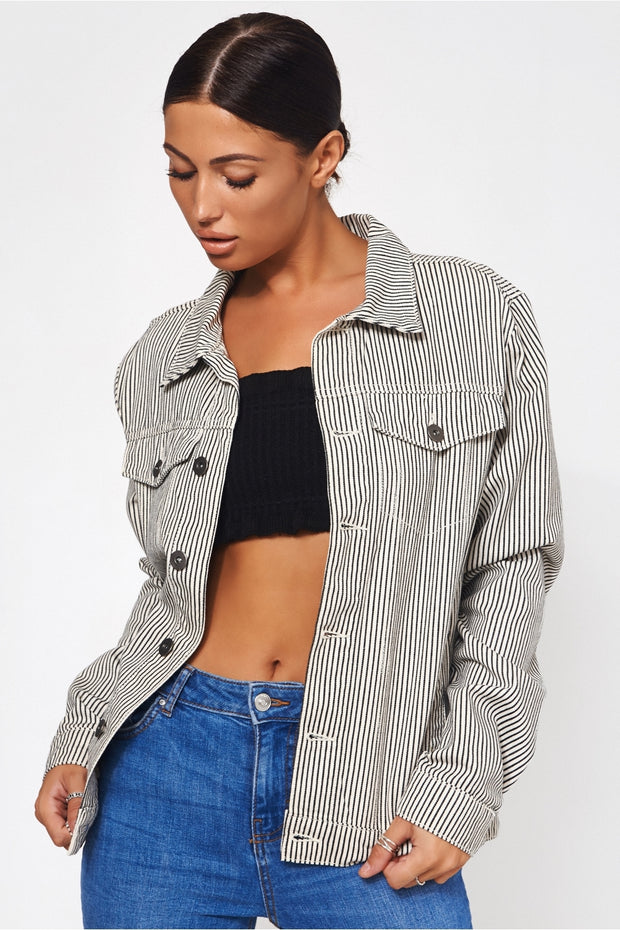 Black & White Stripe Denim Jacket