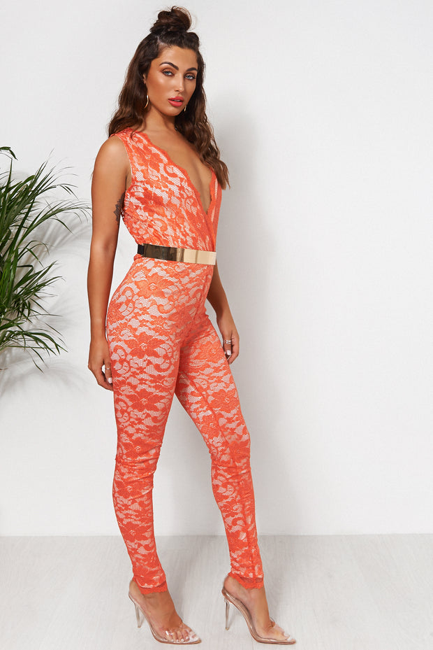 Tiki Orange Lace Jumpsuit