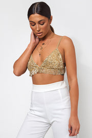 Gold Sequin Bra Top