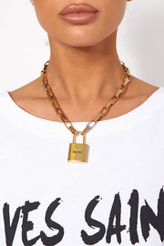 Gold Moon Padlock Necklace