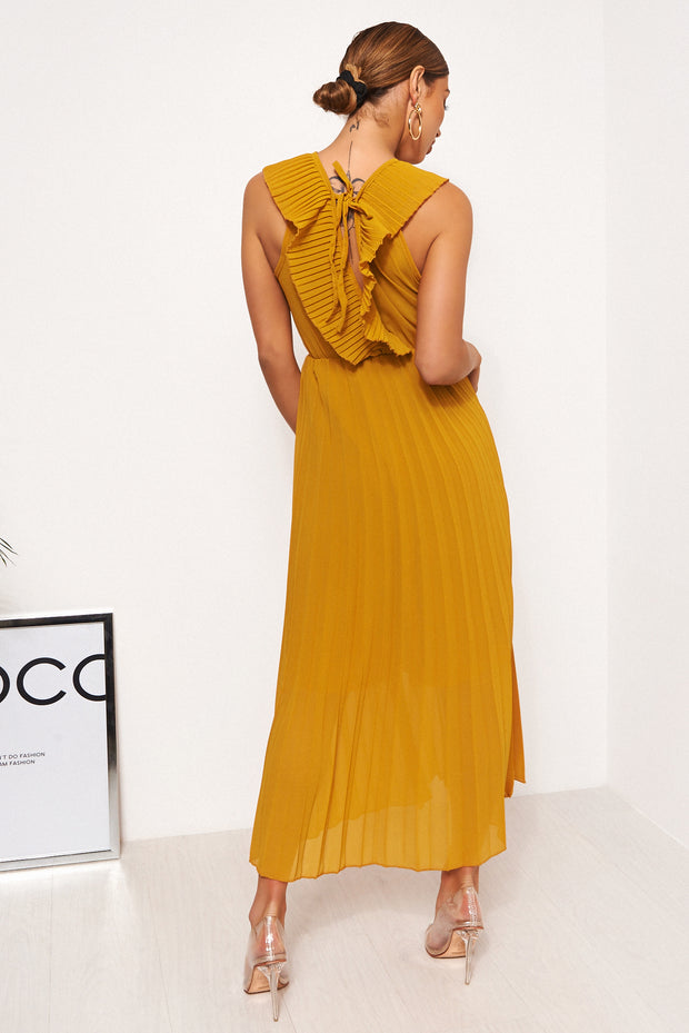 Giana Mustard Frill Maxi Dress
