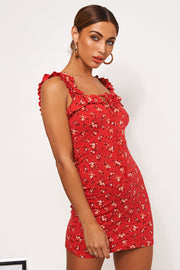 Gia Red Floral Ditsy Print Mini Dress