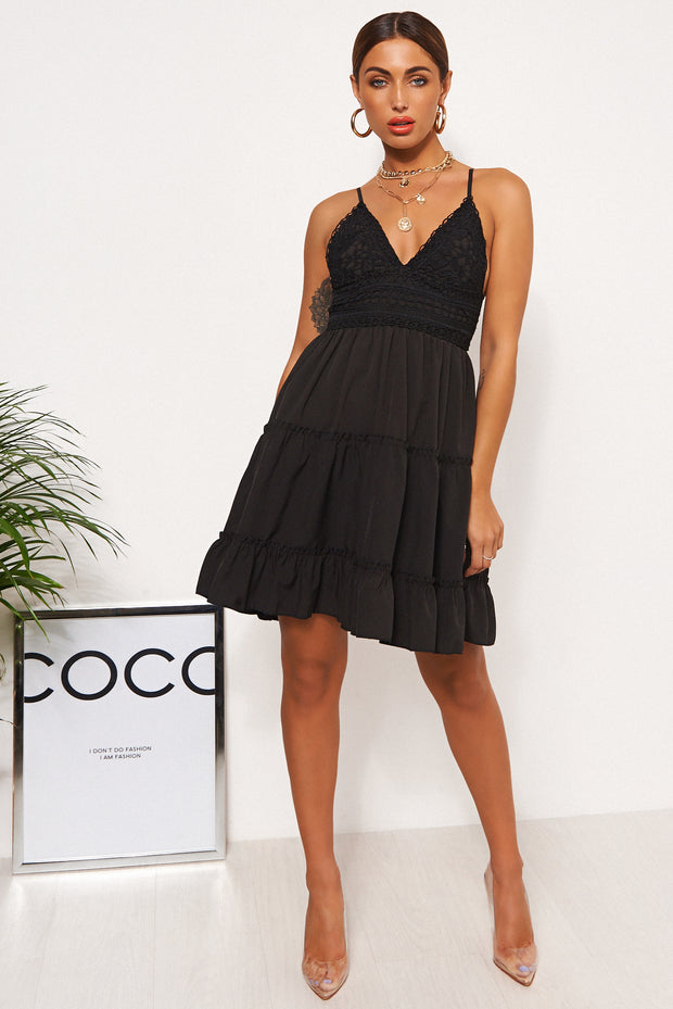 Linzi Black Crochet Frill Dress