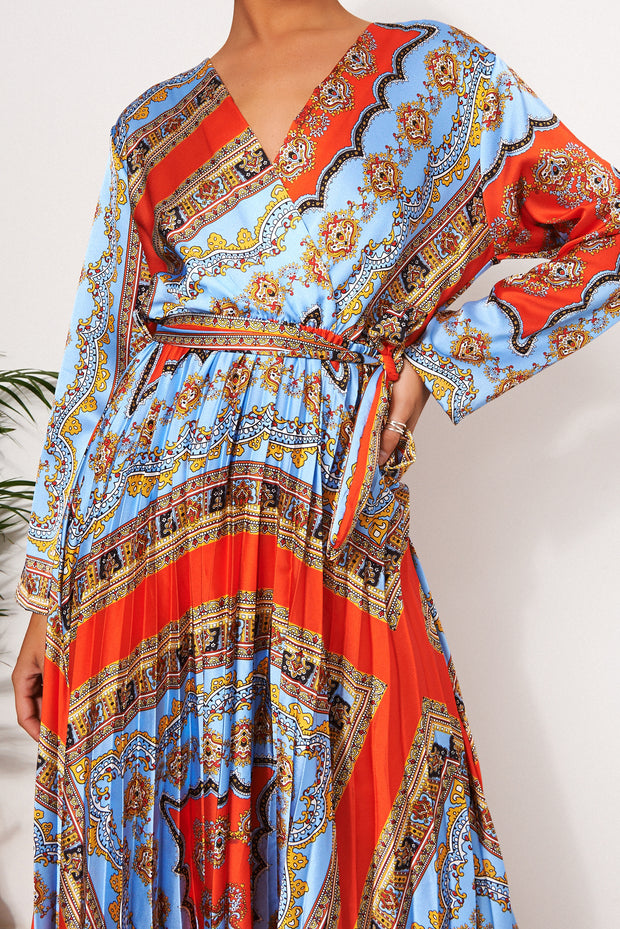 Mina Red Baroque Maxi Dress
