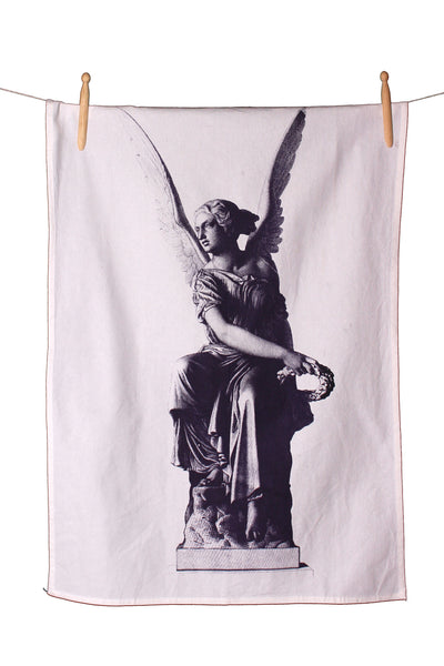 Angel Statuette Cotton Tea Towel