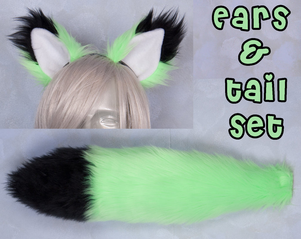 Luxury Fluorescent Lime Furry Ear & Tail Set - Black Tip
