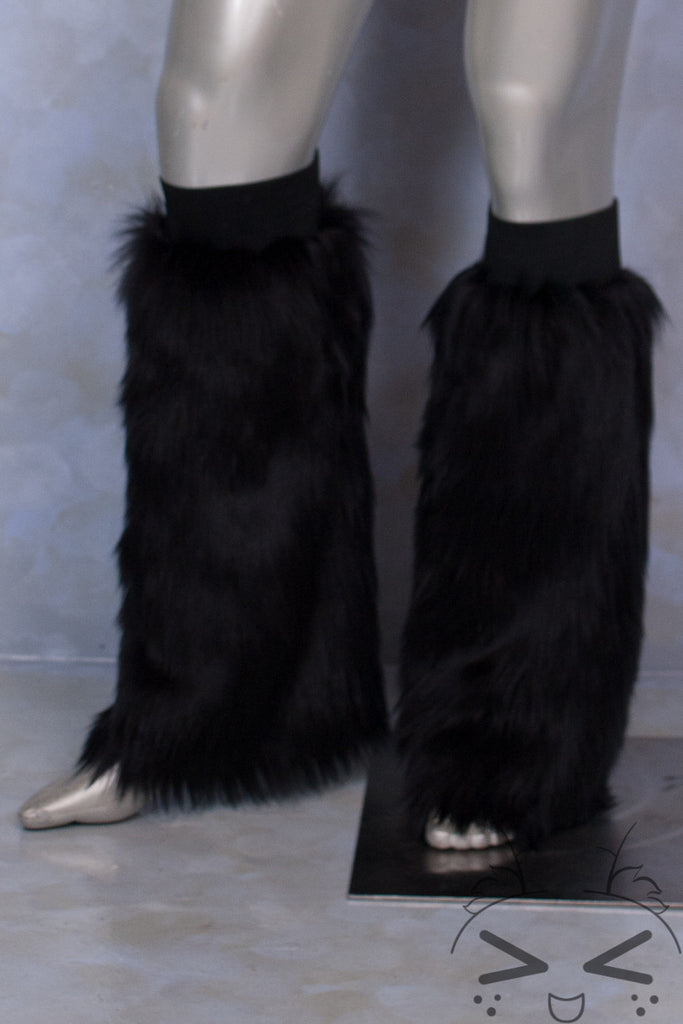 Black Luxury Fur Legwarmers
