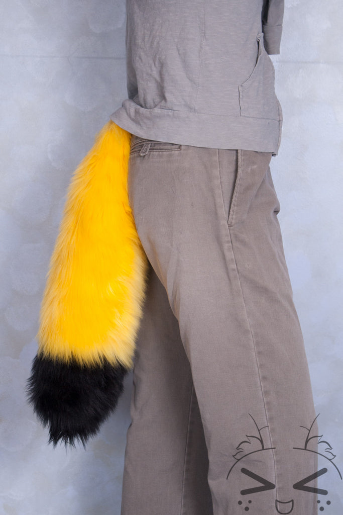 Fluorescent Yellow Luxury Fur Tail- Black Tip