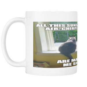 NATURE CAT FUNNY MEME 11 OUNCE COFFEE MUG