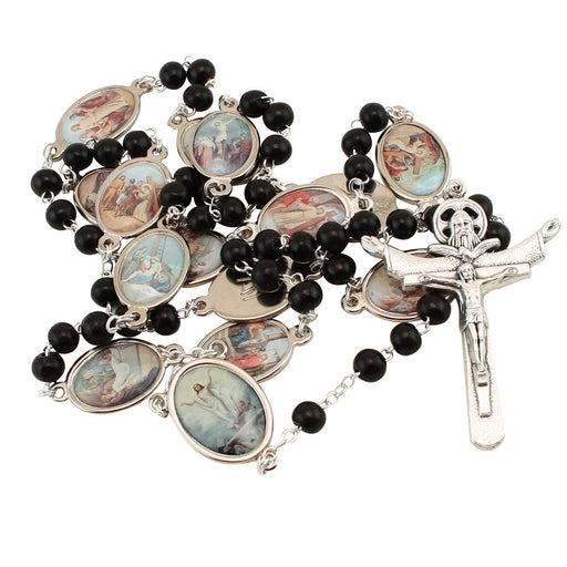 Stations Of The Cross Rosary - Black Wood