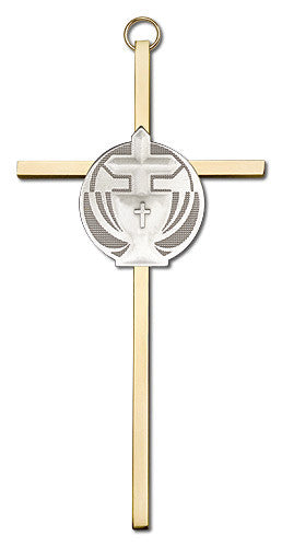 Image of 6 inch Antique Silver Communion on a Polished Silver Finish Cross