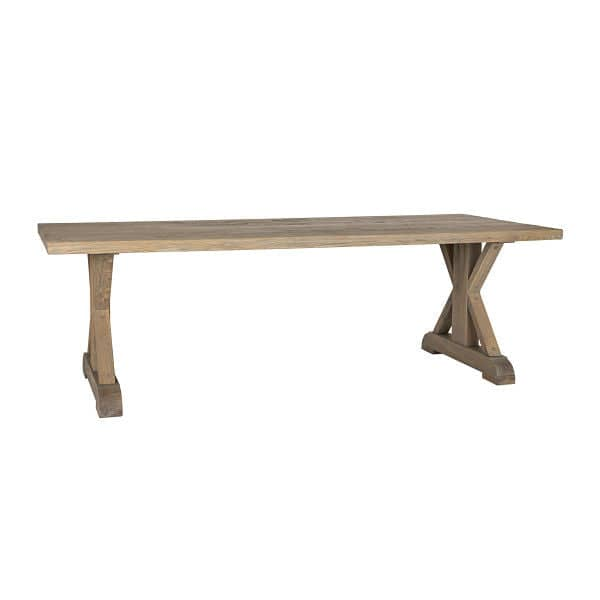 Hoxton Rustic Oak Trestle Dining Table Solid Wood
