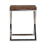 Luxe Kensington Reclaimed Wood Square Side Table Front view