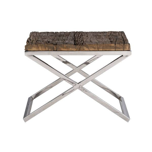 Luxe Kensington Reclaimed Wood Side Table Side View