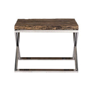 Luxe Kensington Reclaimed Wood Side Table Front view