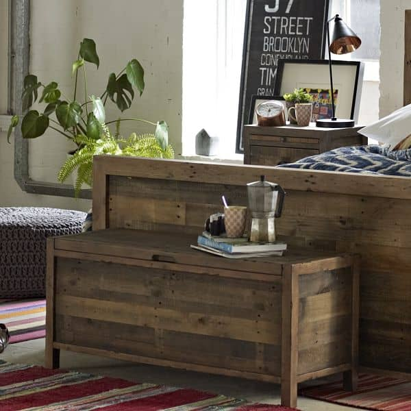 Standford Reclaimed Wood Blanket Box Chest by the bed