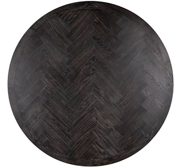 Top of Black Industrial Oak Round Dining Table