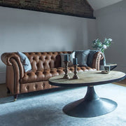 Charlie Leather Chesterfield Sofa and Oval Coffee Table