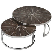 Glasgow Reclaimed Elm Round Nest of Tables with Stainless Steel Frame