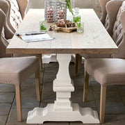 Hoxton Oak White Farmhouse Dining Table front
