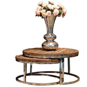 Luxe Kensington Reclaimed Wood Round Nest of Tables Cutout