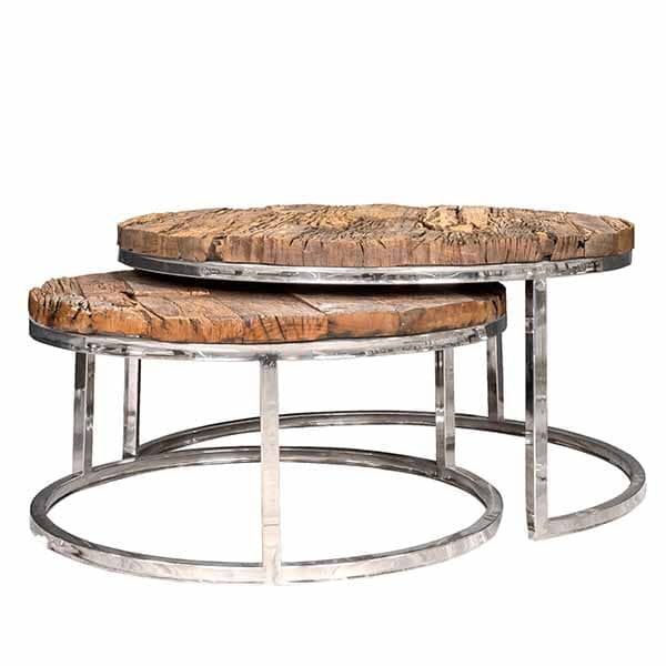 Luxe Kensington Reclaimed Wood Round Nest of Tables cut out