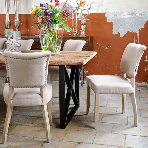Luxe Kensington Industrial Reclaimed Wood Dining Table and Chair