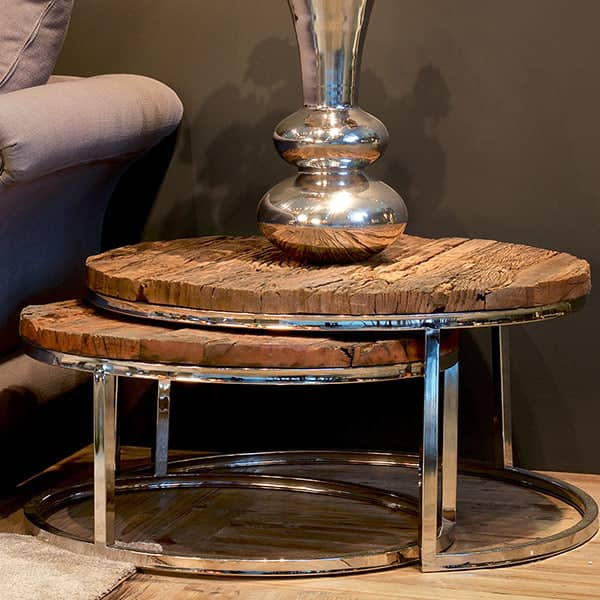 2 Luxe Kensington Reclaimed Wood Round Side Tables
