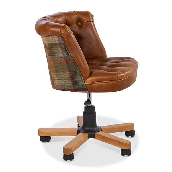 Parker Leather and Harris Tweed Office Chair