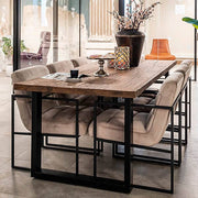 6 Seater Industrial Dining Table with Reclaimed Wood Top and Black Steel Legs