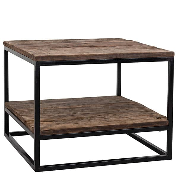 Raffles Reclaimed Wood Industrial Square Side Table Cutout