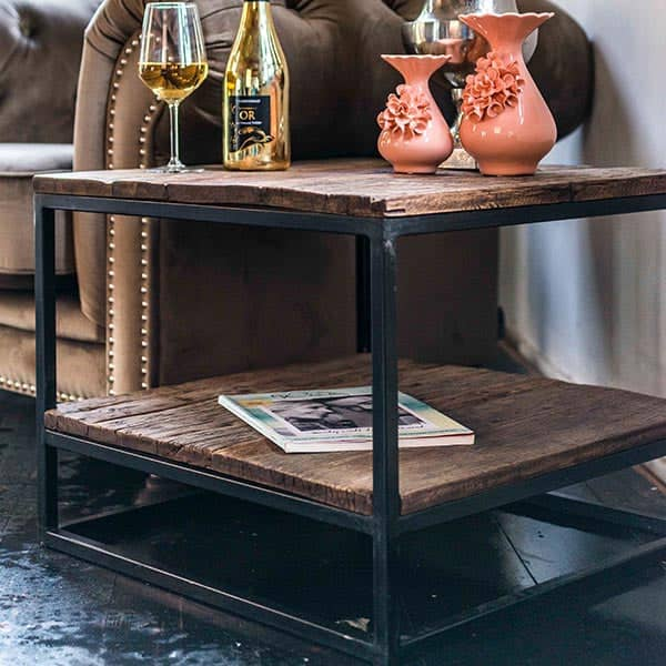 Raffles Reclaimed Wood Industrial Square Side Table