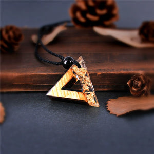 Handmade Triangle Wood Resin Gold Coloured Necklace