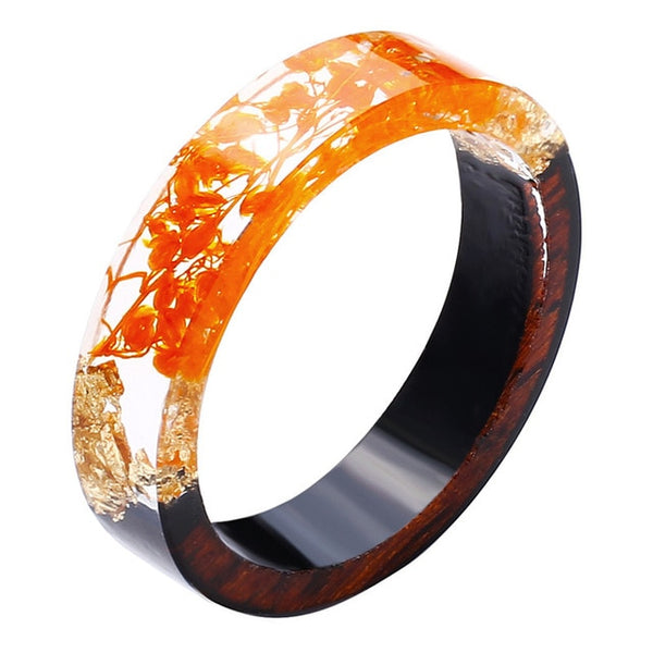 Orange Flower Natural Wood & Resin Rings for Women