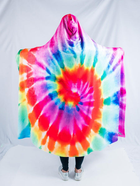 Rainbow Tie Dye Hooded Blanket Hooded Blanket Electro Threads