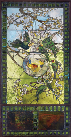 Louis Comfort Tiffany - Parakeets and Gold Fish Bowl, about 1893