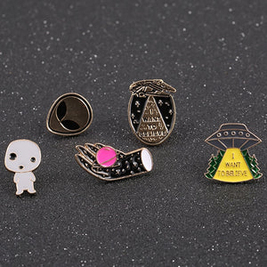Timeless Wonder Enamel cute Alien Spaceship hand Brooch Pin set Bijoux Trendy Pop DIY Gown bestie gift for bag 5pcs/set 2222
