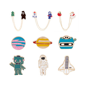 High quality astronaut series enamel brooch cute ladies pins hat backpack jackets badge men's clothes accessories kids gifts
