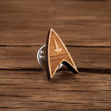 Load image into Gallery viewer, Hfarich Spaceship Brooch Laser Engraved Lapel Pins Maple Wood Insignia Badge Brooches Jewelry For Men and Kids