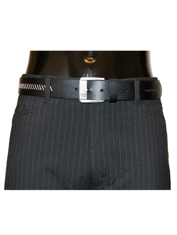Mens Leather Belt Leo by Daniel Christian with Stitch Effect Design in Black