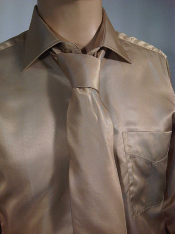 Mens Designer Fashion Shirt & Tie Box Set Elsa in Beige