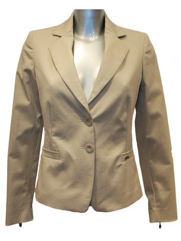 Ladies Designer Fashion Suit Jacket from Guess by Marciano in Beige with Gold Tiger Print Lining