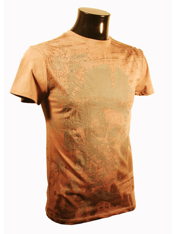 Mens Designer Fashion T-Shirt by Advocate H6 in Light Brown with Skull Design