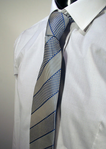 Mens Designer Fashion Tie Kensington by Daniel Christian in Blue with Blue & White Checked Stripe Design