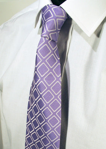 Mens Designer Fashion Tie Kensington by Daniel Christian in Lavender with Silver Square Pattern